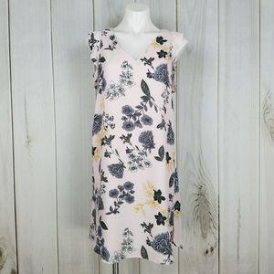 Ann Taylor LOFT Pink Gray Floral Sleeveless Dress